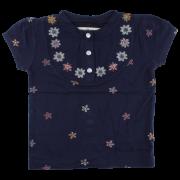 Iris Tmavomodré kvetinkové tričko Oeko-Tex | SMALL RAGS