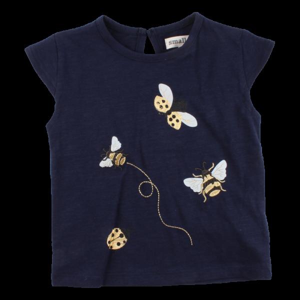 Iris Tmavomodré tričko GOTS s vyšívanými zlatými čmeliakmi | SMALL RAGS