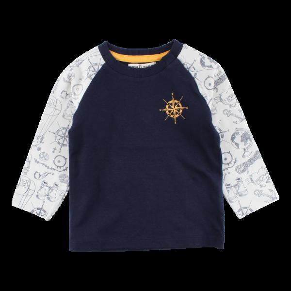 Námornícke tmavomodré tričko s dlhými rukávmi Ivan | SMALL RAGS
