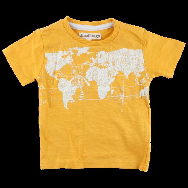 Horčicovožlté tričko s potlačou mapy sveta a Mr. Ragsom Ivan |SMALL RAGS