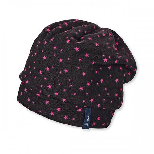 Dievčenská čierna šmolko čiapka s ružovými hviezdičkami | Sterntaler