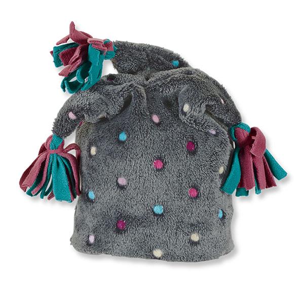 Dievčenská tmavosivá šašovská šmolko čiapka s farebnými guličkami | Sterntaler