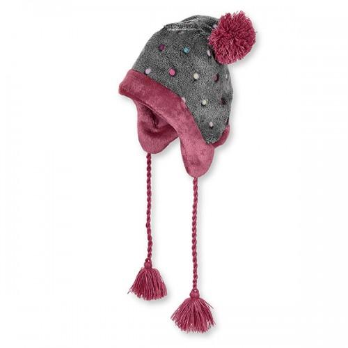 Dievčenská tmavosivá inka čiapka s farebnými guličkami | Sterntaler