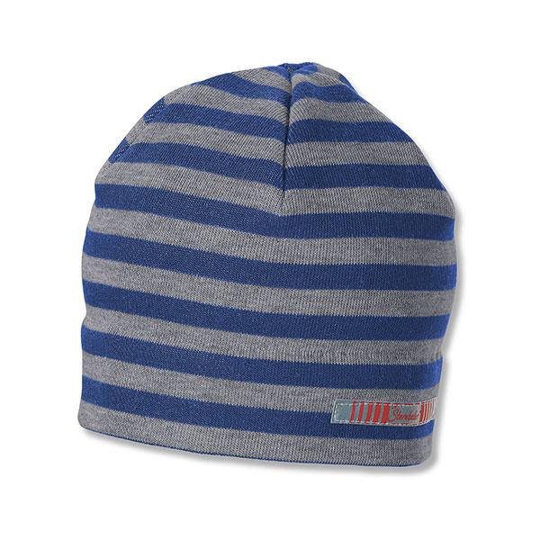 Chlapčenská sivo-modrá prúžková čiapka s reflexným prvkom    Sterntaler