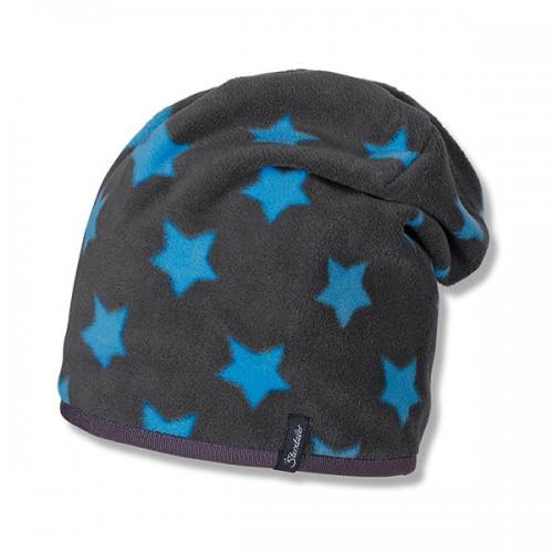 Chlapčenská flísová tmavosivá šmolko čiapka s modrými hviezdami | Sterntaler